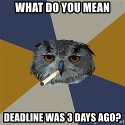 Art Student Owl - What do you mean Deadline was 3 days ago?