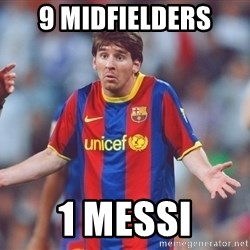 Messi 3 - 9 midfielders 1 messi