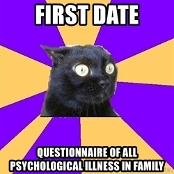 Anxiety Cat - first date questionnaire of all psychological illness in family