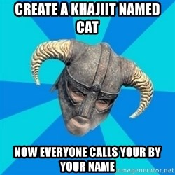skyrim stan - create a khajiit named cat now everyone calls your by your name