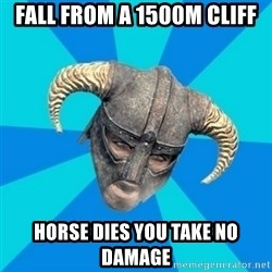 skyrim stan - fall from a 1500m cliff horse dies you take no damage