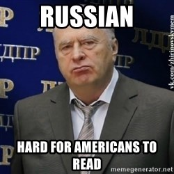 Vladimir Zhirinovsky - russian hard for americans to read