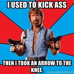 Chuck Norris  - I used to kick ass Then I took an arrow to the knee.
