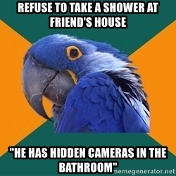 "Paranoid Parrot - REFUSE TO TAKE A SHOWER AT FRIEND'S HOUSE ""HE HAS HIDDEN CAMERAS IN THE BATHROOM"""