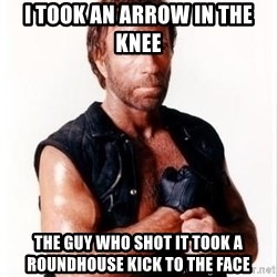 Chuck Norris Meme - i took an arrow in the knee the guy who shot it took a roundhouse kick to the face