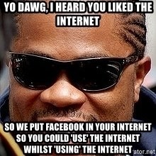 Xzibit - Yo Dawg, I Heard You Liked The Internet So We put facebook in your internet so you could 'use' the internet whilst 'using' the internet