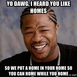 XZIBITHI - YO DAWG, I HEARD YOU LIKE HOMES SO WE PUT A HOME IN YOUR HOME SO YOU CAN HOME WHILE YOU HOME
