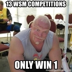 Strongman Samuelsson - 13 WSM competitions  only win 1