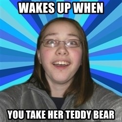 Innocent College Girl - wakes up when you take her teddy bear