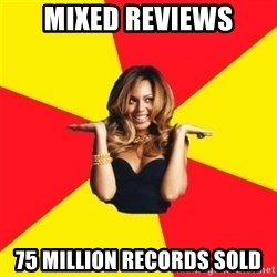 Beyonce Giselle Knowles - mixed reviews 75 million records sold