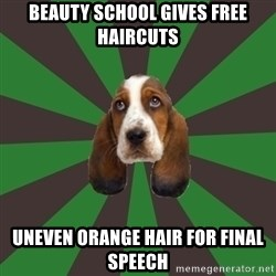 Broke College Student Basset - beauty school gives free haircuts uneven orange hair for final speech