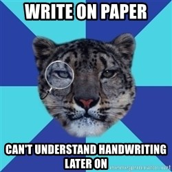 Writer Leopard - write on paper Can't understand handwriting later on
