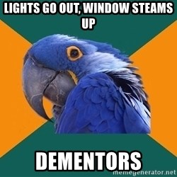 Paranoid Parrot - lights go out, window steams up dementors