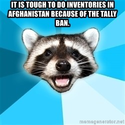 Lame Pun Coon - It is tough to do inventories in Afghanistan because of the tally ban.