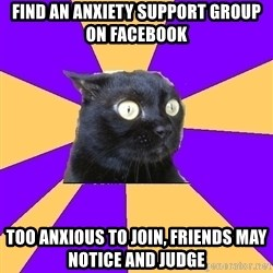 Anxiety Cat - find an anxiety support group on facebook too anxious to join, friends may notice and judge
