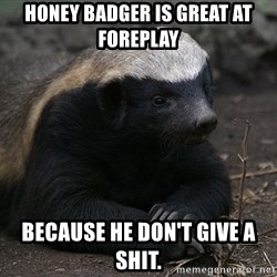 Honey Badger - Honey badger is great at foreplay because he don't give a shit.