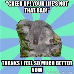 "Clinically Depressed Koala - ""cheer up! your life's not that bad!"" thanks i feel so much better now"