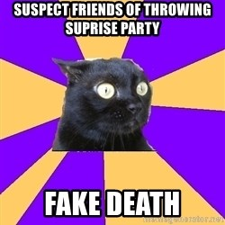 Anxiety Cat - suspect friends of throwing suprise party fake death