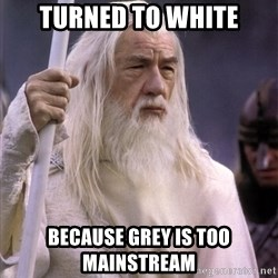 White Gandalf - Turned to white BECAUSE GREY IS TOO MAINSTREAM