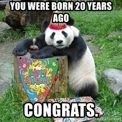 Happy Birthday Panda - You were born 20 years ago congratS.