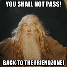 Gandalf - You shall not pass! Back to the Friendzone!
