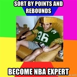 Casual Sports Fan - sort by points and rebounds become nba expert