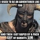 Skyrim Meme Generator - I used to be an adventurer like you and then i got raped by a pack of bandits