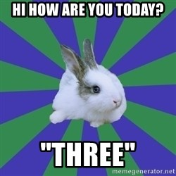 "Restaurant Rabbit - hi how are you today? ""Three"""