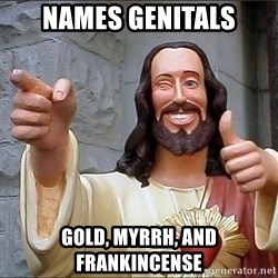 Jesus - Names genitals Gold, Myrrh, and Frankincense