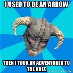 skyrim stan - I used to be an arrow then i took an adventurer to the knee