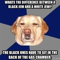 Racist Dawg - whats the difference between a black jew and a white jew? the black ones have to sit in the back of the gas chamber.