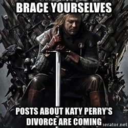 Eddard Stark - Brace yourselves posts about katy perry's divorce are coming