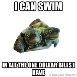 Tips Only Two-Headed Turtle - i can swim in all the one dollar bills i have