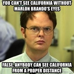 Dwight Meme - You can't see California without marlon brando's eyes false. anybody can see california from a proper distance