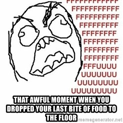 Fffuuu -  that awful moment when you dropped your last bite of food to the floor