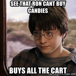 Harry Potter 2 - see that ron cant buy candies buys all the cart