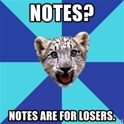 Newbie Writer Leopard - NOTES? NOTES ARE FOR LOSERS.