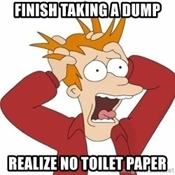 Fry Panic - finish taking a dump realize no toilet paper