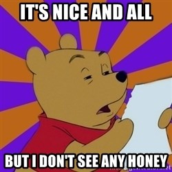 Skeptical Pooh - It's nice and all but i don't see any honey