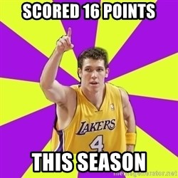 Lame Luke Walton - scored 16 points this season