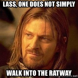 Boromir - LASS, ONE DOES NOT SIMPLY WALK INTO THE RATWAY