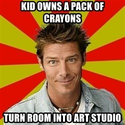 Ty Pennington - kid owns a pack of crayons turn room into art studio