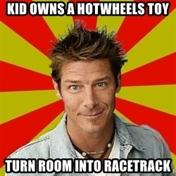 Ty Pennington - kid owns a hotwheels toy turn room into racetrack
