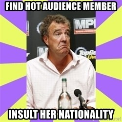 Cryface Clarkson - find hot audience member insult her nationality