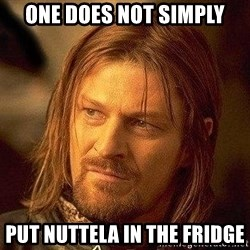 Boromir - One does not simply put nuttela in the fridge