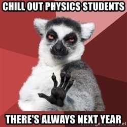 Chill Out Lemur - Chill out Physics students There's always next year