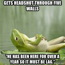 "IDGAF Frog - gets headshot through five walls ""He has been here for over a year so it must be lag."""