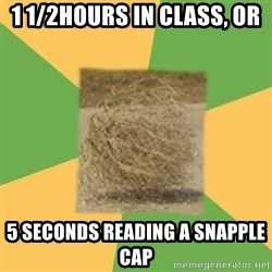 Busy Tumbleweed - 1 1/2hours in class, or 5 seconds reading a snapple cap