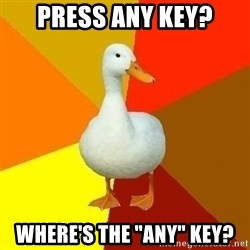 """Technologically Impaired Duck - Press any key? Where's the """"Any"""" key?"""