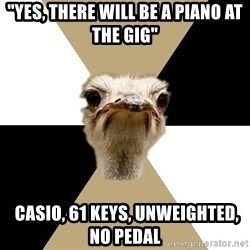 """Music Major Ostrich - """"yes, There will be a piano at the gig""""  casio, 61 keys, unweighted, no pedal"""